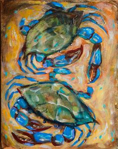 Blue Crabs by OlsenIslandArt on Etsy, $175.00
