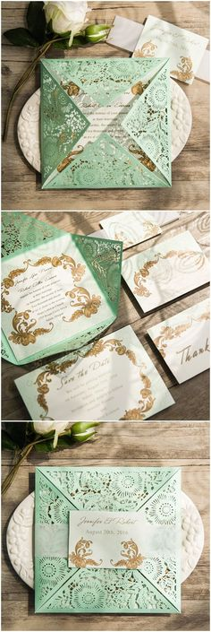 Love these mint lace wedding invitations, great for an elegant spring wedding