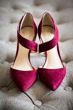 Burgundy suede, Vince Camuto heels, pointed toe, bridal shoes // Nyk + Cali
