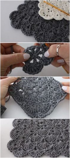 Fantastic Absolutely Free how to crochet granny squares Strategies How To Crochet A Shell Stitch Granny Square Blanket Crochet Afghans, Crochet Blanket Patterns, Baby Blanket Crochet, Crochet Stitches, Crochet Baby, Free Crochet, How To Crochet, Crochet Blocks, Granny Square Crochet Pattern