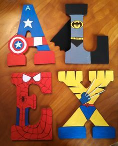 Hand-painted 9 tall wood superhero letters by TheHandpaintedHero - Visit to grab an amazing super hero shirt now on sale! Superhero Letters, Superhero Room, Arts And Crafts Movement, Marvel Bedroom, Avengers Room, Alphabet For Kids, Font Alphabet, Art And Craft Videos, Creative Arts And Crafts