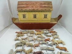 antique noah's ark | ANTIQUE GERMAN NOAH'S ARK PAINTED WOOD ANIMALS 1890 CHILDS TOY FOLK ...