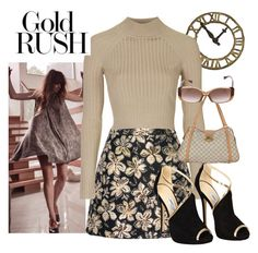 """Gold Rush"" by brandonandrews500 ❤ liked on Polyvore featuring Alice + Olivia, Topshop, Jimmy Choo and Louis Vuitton"