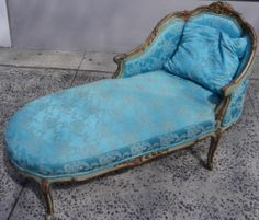 """""""jansen"""" Antique French Carved Wood And Upholstered Chaise Lounge Sofa Chair"""