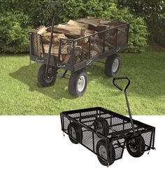 Industrial-grade Strongway™ Jumbo Wagon handles heavy loads up to lbs. Front, rear and side panels fold away or detach completely for easy loading and unloading. Garden Tool Storage, Garden Tools, Garden Wagon, Garden Cart, Patio Blocks, Pull Wagon, Utility Cart, Got Wood, Mini Farm