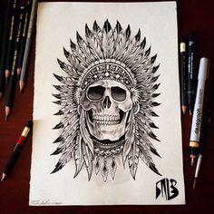Warrior Tattoos, Badass Tattoos, Viking Tattoos, Wiccan Tattoos, Indian Headdress Tattoo, Indian Skull Tattoos, Skull Tattoo Flowers, Filigree Tattoo, Hip Tattoos Women