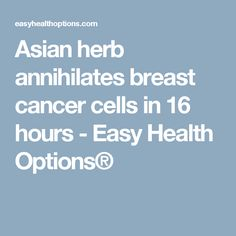 Asian herb annihilates breast cancer cells in 16 hours - Easy Health Options®