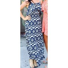 Navy blue tribal patterned summer dress! Navy blue, tribal-patterned dress gently used & in excellent condition! Super easy to slip into & wonderfully stylish! Dresses Maxi