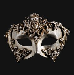 "Colombina Barocco Dama Silver   This elegant mask was a ""clou"" of 16 century's parties! An accessory exudes sophisticated charm in heraldic languages."