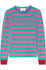 GucciMetallic-trimmed striped cashmere and wool-blend sweater