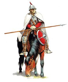 """Carolingian Scola heavy cavalryman, ninth century"", Zvonimir Grbasic Military Art, Military History, Carolingian, Germanic Tribes, Empire Romain, Early Middle Ages, Holy Roman Empire, Medieval Times, Dark Ages"