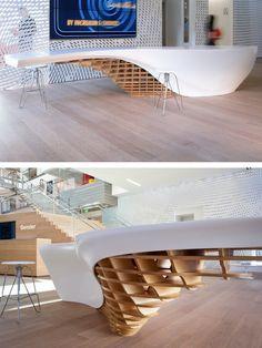 Modern Reception Desks Design Inspiration - Page 7 of 10 - The Architects Diary Modern Reception Desk, Reception Desk Design, Reception Counter, Modern Table, Design Wood, Design Desk, Interior Architecture, Interior Design, Design Living Room