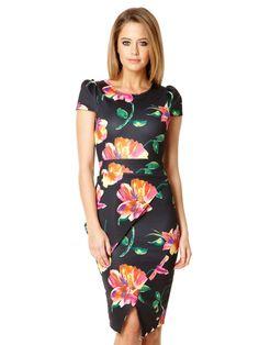 Black Floral Print Asymmetric Peplum Dress