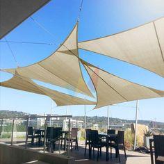 Pergola, Outdoor Movie Screen, Sun Sail Shade, Patio Sun Shades, Sun Canopy, Shade Canopy, Pink Sky, Small Trees, Summer Heat