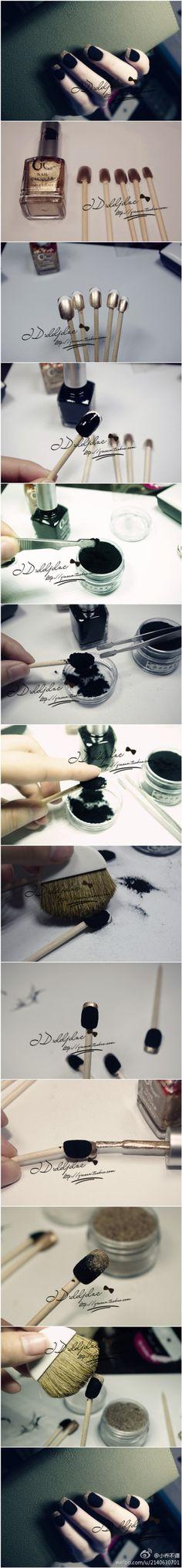Velvet nails with flocking powder. Love it!