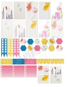 Free Floral Watercolor Stickers   Newman's Corner