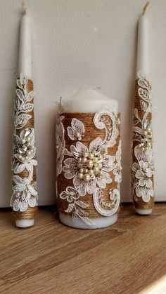 Items similar to Unity Candles Wedding Unity Candle Ceremony Unity Candles Set ivory rustic Wedding unity candle pearl unity candle ivory candle Set of 3 on Etsy Homemade Candles, Diy Candles, Candle Set, Rustic Candle Holders, Candle Stand, Christmas Candles, Christmas Crafts, Wedding Unity Candles, Decoration Table