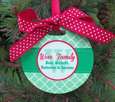 Personalized Family Ornament  Two Sided by ThatPartyChick on Etsy, $15.00