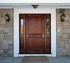 Beautiful two panel door with 1 lite over 1 panel sidelites.