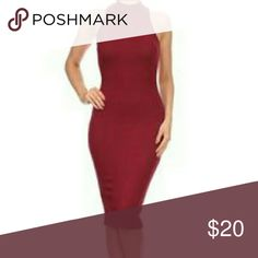 "C O M I N G solid sleeveless midi bodycon dress THE MODEL IS WEARING SIZE SMALL  32Ax24x35 height is 5'7"" 170.2cm  Black, mustard, Burgundy, mocha   Dresses Midi"
