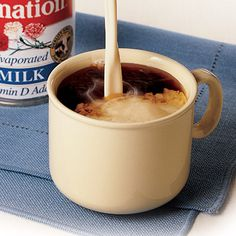 Coffee with Carnation milk. My parents used to drink their coffee with this stuff... YUK.