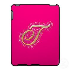 Pink and Cute iPad Case with Your Initial ''T''.