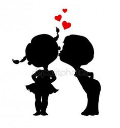 Illustration of Silhouettes of kissing boy and girl. Eps 8 vector illustration vector art, clipart and stock vectors. Kissing Silhouette, Couple Silhouette, Silhouette Painting, Girl Silhouette, Silhouette Design, Silhouettes, Girls Holding Hands, Wall Clock Sticker, Illustration