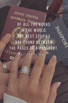 travel quotes Of all the books in the world, the best stories are found between the pages of a passport. New Adventure Quotes, Best Travel Quotes, Travel Advice, Travel Quotes Tumblr, Vacation Quotes, Travel Vlog, Travel Checklist, Travel Info, Travel Deals