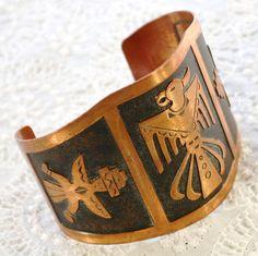 Vintage Copper Cuff Bracelet, Eagle, Native American Dancers, Huge Wide, 1960s Southwestern Tribal Jewelry