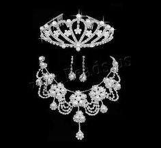 Ensembles de bijoux de mariée, alliage de zinc, couronnesommet & boucle d'oreille & collier, avec perle de verre, acier inoxydable puce boucle d'oreille, Placage de couleur argentée, avec strass, protéger l'environnement, sans nickel, plomb et cadmium, 130x50mm, 40x10mm, Longueur:Environ 19 pouce, 3ensemblessérie/sac, Vendu par sac,perles bijoux en gros de Chine