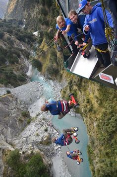 BEST adrenaline rush in New Zealand! Nothing like shooting off a slide into a canyon on a tricycle making a 60m freefall into a 200m swing across a glacier blue river!! Check out more photos and videos from our canyon swing!  #adventure http://www.livingakiwilife.com/2014/05/shotover-canyon-swing.html?m=1 Discovered by Living a Kiwi Life at Shotover Canyon Swing, Queenstown, New Zealand