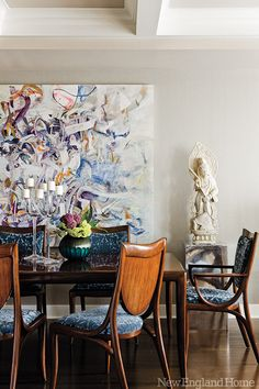 The designers cleverly chose a polished steel base for an Indian marble sculpture in the dining area of this Back Bay condominium. Photo by Michael J. room design indian High Definition - New England Home Magazine Dining Room Inspiration, Interior Inspiration, New England Homes, Dining Room Design, Dining Area, Dining Rooms, Dinning Set, House And Home Magazine, Beautiful Space
