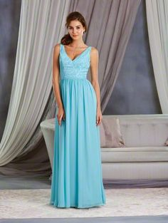 Alfred Angelo Style 7377L: floor length long bridesmaid dress with V-neckline and a white lace underlay on the bodice