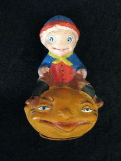Boy on Jack-O-Lantern Antique German Halloween Candy Container! | eBay