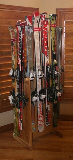 12 position ski storage floot stand.  One of the patented designs at buttonskirack.com.