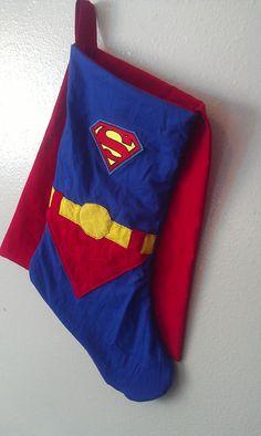 Superman Stocking by hatzNthangz on Etsy