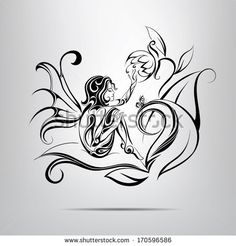 Background With Beautiful Girl Silhouette Ilustraciones vectoriales en stock: 94442533 : Shutterstock Angle And Demon, Daffodil Tattoo, Learn To Sketch, Stock Photo Girl, Fairy Tattoo Designs, Illustration Girl, Chalk Art, Portfolio, Free Illustrations