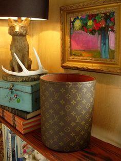 Ultra RARE Vintage LOUIS VUITTON Waste Basket Executive Office Desk Accessory LV #LouisVuitton #WasteBasketTrashCan