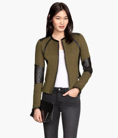 Like this as a different jacket idea, cute, but not high priority: Khaki green. Short, fitted knit jacket with imitation leather sections. Zip at front and side pockets with zip. Lined.
