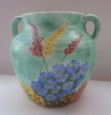 EARLY ART DECO E Radford Pottery Vase. Lupins & Garden Flowers 1920s or 1930s 52.00