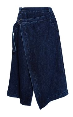 This **Sea** skirt is rendered in cotton and features a wrap style with an a-line shape and a knee length hem.