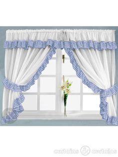 Gingham Check Blue & White Kitchen Curtain