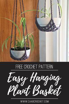 Crochet Plant Hanger, Macrame Plant Hanger Patterns, Macrame Patterns, Crochet Patterns, Crochet Home Decor, Crochet Crafts, Free Crochet, Easy Crochet, Plant Basket