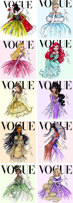 These utterly beautiful creations by Hayden Williams reimagined Disney Princesses gracing the cover of Vogue magazine. They all look so *fierce*! How cool is Ariel here? // More Disney Princesses Reimagined Here by Hayden Williams Disney Kunst, Arte Disney, Disney Magic, Aurora Disney, Cinderella Disney, Disney Pocahontas, Disney Dream, Disney Style, Disney Love