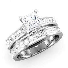 Princess Cut Diamond Wedding Ring Set - http://www.mybridalring.com/Rings/princess-cut-diamond-bridal-engagement-set/