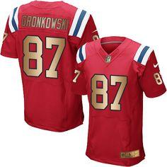 #NikePatriots #87 #Rob #Gronkowski Red Alternate Men's Stitched NFL Elite Gold Jersey #Patriots  #LetsHear #SuperBowl #OneMore #Googlejerseys