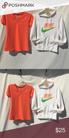 NIKE BUNDLE BOTH ITEMS INCLUDED! BOTH FIT SIZE SMALL!! (The hoodie is size small &a shirt is medium but runs smaller). BOTH worn handful of times! NO FLAWS! Nike Tops Tees - Short Sleeve