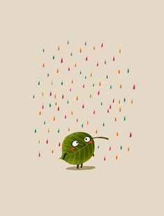Kids art - leaf & rain