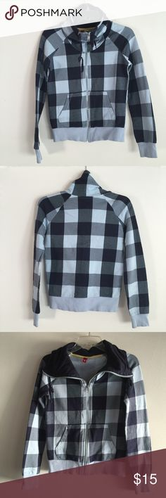 H&M Divided Blue Plaid Zip Up - Size 6 H&M Divided Blue Plaid Zip Up - Size 6. Good condition! Divided Tops Sweatshirts & Hoodies