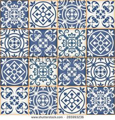 Gorgeous seamless patchwork pattern from dark blue and white Moroccan tiles, ornaments. Can be used for wallpaper, pattern fills, web page background,surface textures.  - stock vector